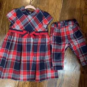 Girls plaid dress and boys pants matching
